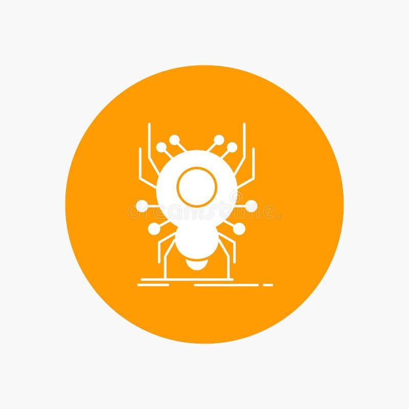 Wanze, Insekt, Spinne, Virus, App weiße Glyph-Ikone im Kreis Vektor-Knopfillustration vektor abbildung