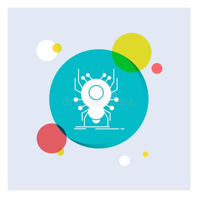 Wanze, Insekt, Spinne, Virus, App weiße Glyph-Ikonen-bunter Kreis-Hintergrund lizenzfreie abbildung