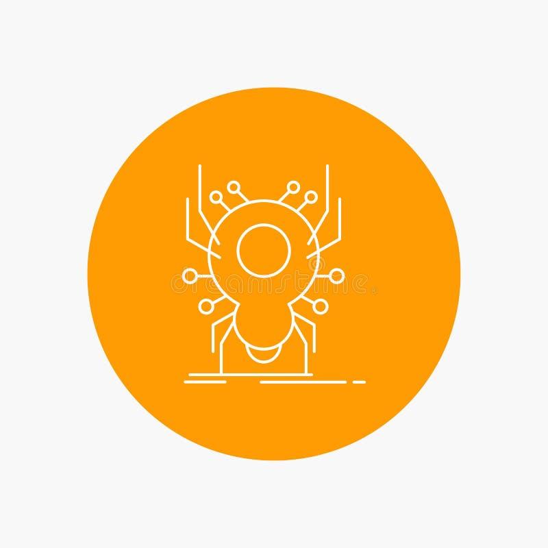 Wanze, Insekt, Spinne, Virus, App-weiße Linie Ikone im Kreishintergrund Vektorikonenillustration lizenzfreie abbildung