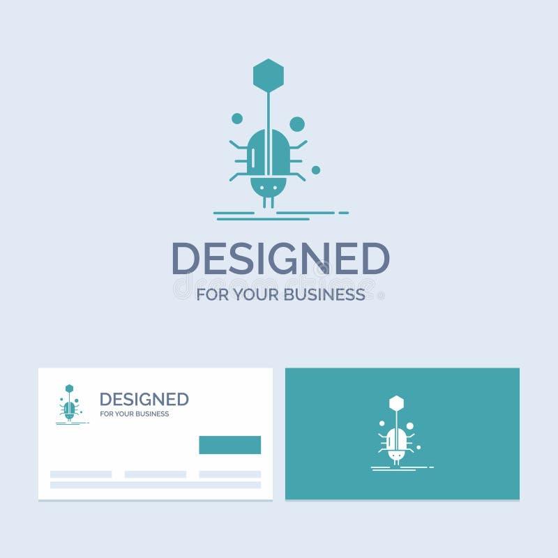 Wanze, Insekt, Spinne, Virus, Netz Geschäft Logo Glyph Icon Symbol für Ihr Geschäft T?rkis-Visitenkarten mit Markenlogo vektor abbildung
