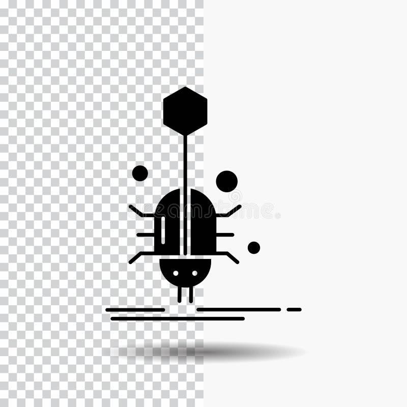 Wanze, Insekt, Spinne, Virus, Netz Glyph-Ikone auf transparentem Hintergrund Schwarze Ikone vektor abbildung