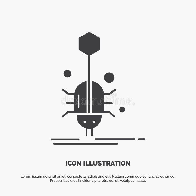 Wanze, Insekt, Spinne, Virus, Netz Ikone graues Symbol des Glyphvektors f?r UI und UX, Website oder bewegliche Anwendung stock abbildung