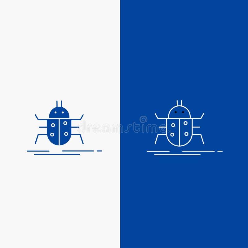 Wanze, Wanzen, Insekt, Prüfung, Virus Linien- und Glyphnetz Knopf in der blaue Farbevertikalen Fahne für UI und UX, Website oder  lizenzfreie abbildung