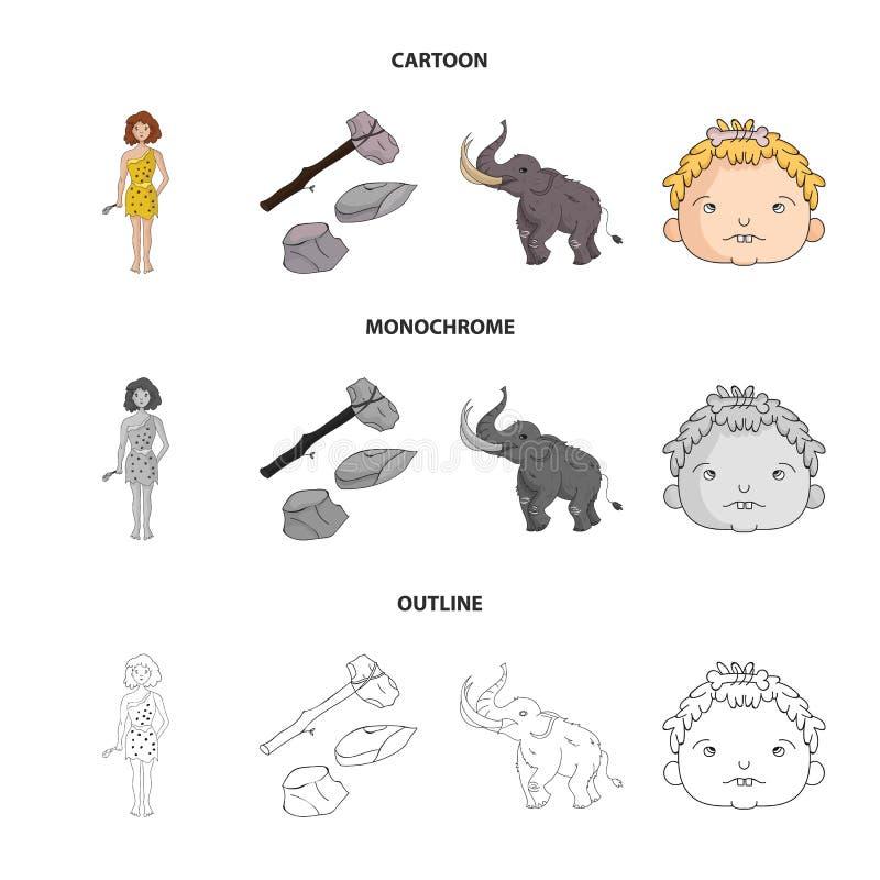 Wapen, hamer, olifant, mammoet Vastgestelde de inzamelingspictogrammen van de steenleeftijd in beeldverhaal, overzicht, zwart-wit vector illustratie