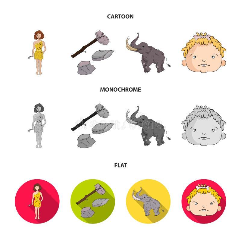 Wapen, hamer, olifant, mammoet Vastgestelde de inzamelingspictogrammen van de steenleeftijd in beeldverhaal, de vlakke, zwart-wit royalty-vrije illustratie