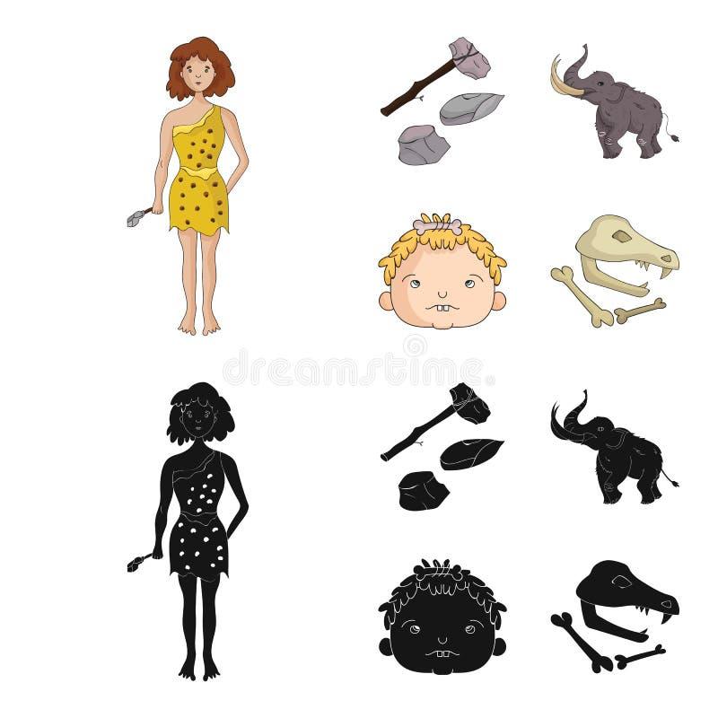 Wapen, hamer, olifant, mammoet Vastgestelde de inzamelingspictogrammen van de steenleeftijd in beeldverhaal, de zwarte voorraad v royalty-vrije illustratie