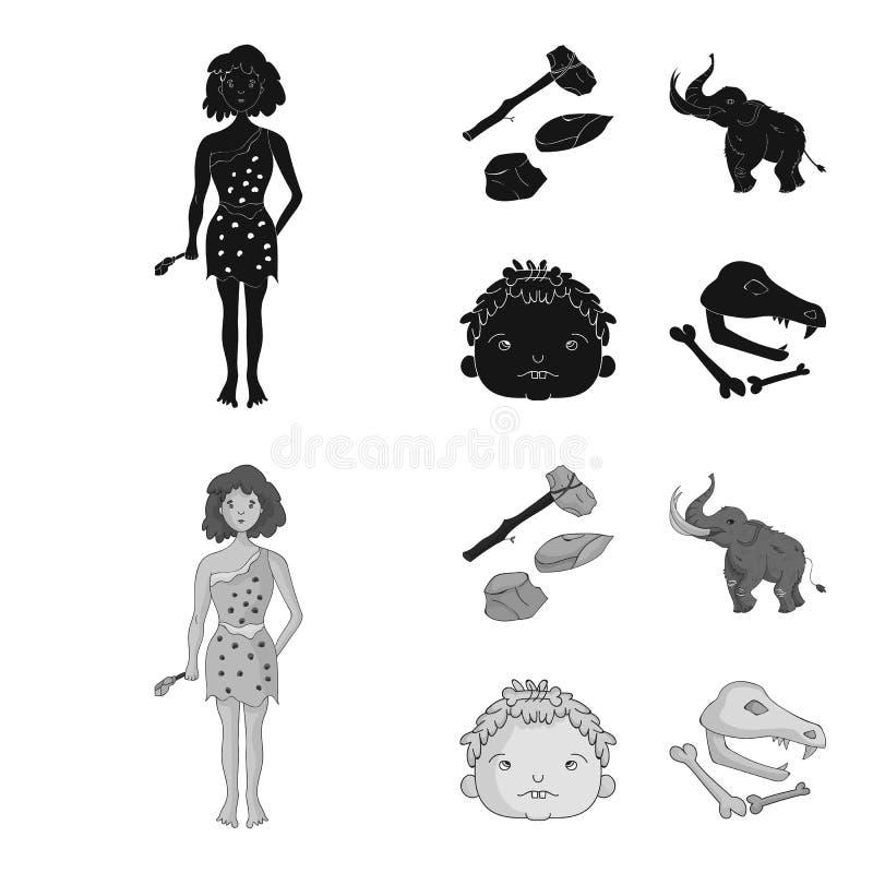 Wapen, hamer, olifant, mammoet Vastgestelde de inzamelingspictogrammen van de steenleeftijd in de zwarte, zwart-wit voorraad van  royalty-vrije illustratie