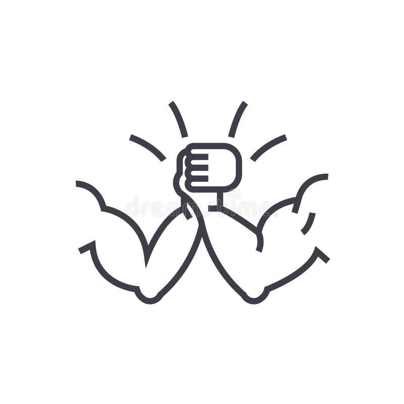 Wapen het worstelen pictogram van de concepten het vector dunne lijn, symbool, teken, illustratie op geïsoleerde achtergrond stock illustratie