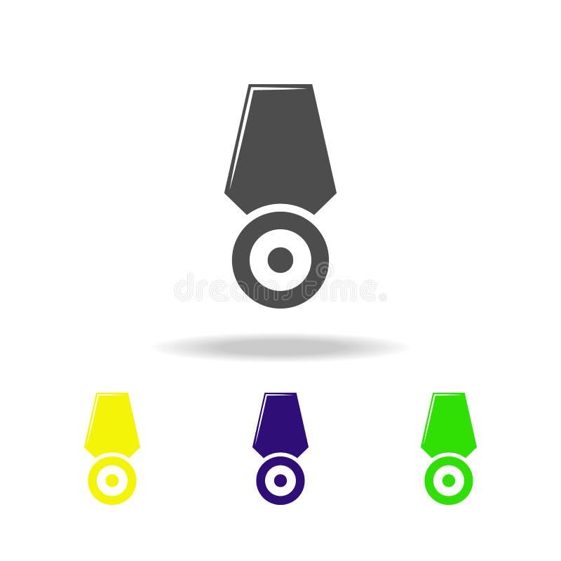 wapen, medaille gekleurde pictogrammen Element van militaire illustratie De tekens en de symbolen kunnen voor Web, embleem, mobie royalty-vrije illustratie