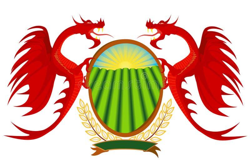 Wapenkunde, rode draken die een schild houdt. royalty-vrije illustratie