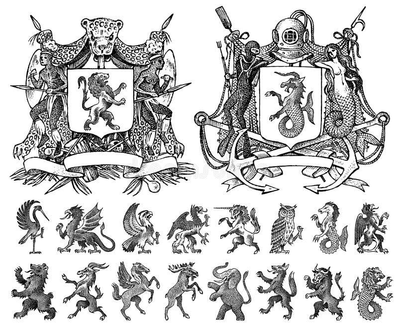 Wapenkunde in uitstekende stijl Gegraveerd wapenschild met dieren, vogels, mythische schepselen, vissen, draak, eenhoorn, leeuw royalty-vrije illustratie