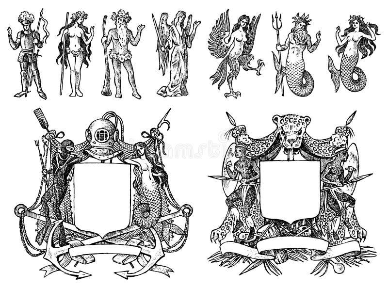 Wapenkunde in uitstekende stijl Gegraveerd wapenschild met dieren, vogels, mythische schepselen, vissen, draak, eenhoorn, leeuw vector illustratie