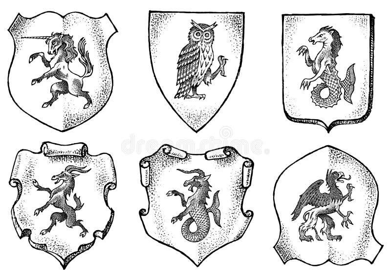 Wapenkunde in uitstekende stijl Gegraveerd wapenschild met dieren, vogels, mythische schepselen, vissen Middeleeuwse Emblemen en vector illustratie