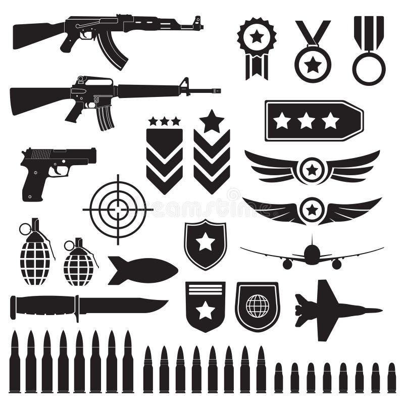 Wapens en militaire reeks Submachinegeweren, pistool en kogels zwarte die pictogrammen op witte achtergrond worden geïsoleerd Sym stock illustratie