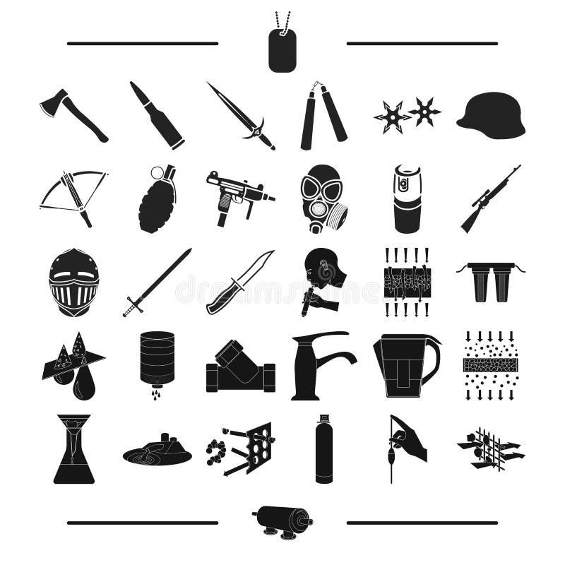 Wapens, leger, eenvormig en ander Webpictogram in zwarte stijl netwerk, bout, Hulpmiddelen, pictogrammen in vastgestelde inzameli vector illustratie
