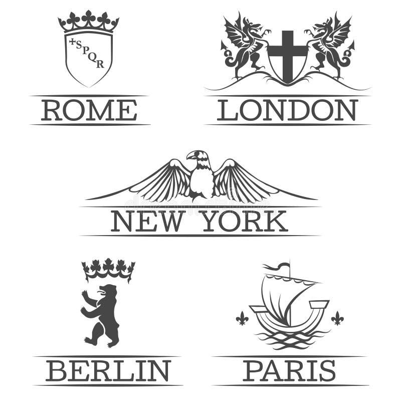 Wapens Parijs en Rome, emblemen New York Londen vector illustratie