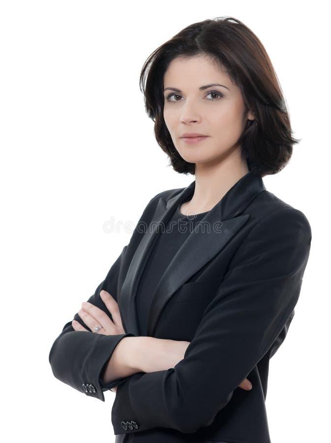 Het mooie ernstige Kaukasische bedrijfsvrouwenportret bewapent crosse stock afbeeldingen