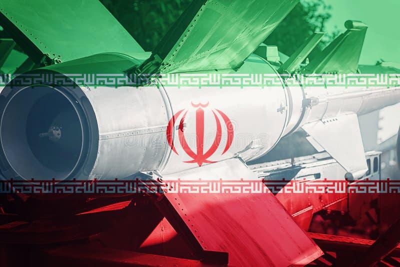 Wapens van massavernietiging De raket van Iran ICBM Oorlogsachtergrond royalty-vrije stock foto's
