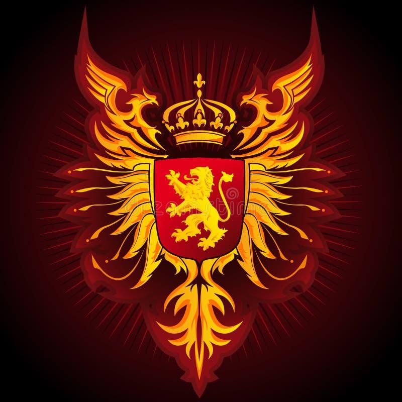 Wapenschild - Adelaars en Leeuw royalty-vrije illustratie