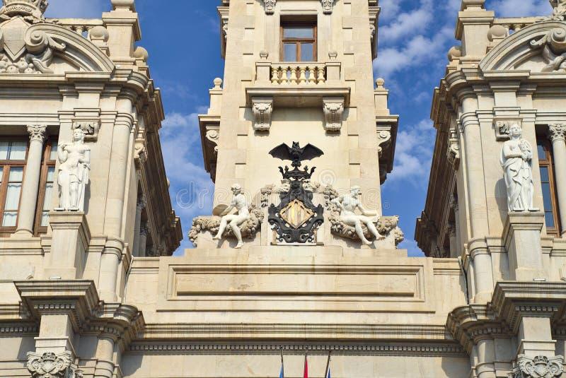 Wapenschild in het Valencia City Hall-gebouw royalty-vrije stock fotografie