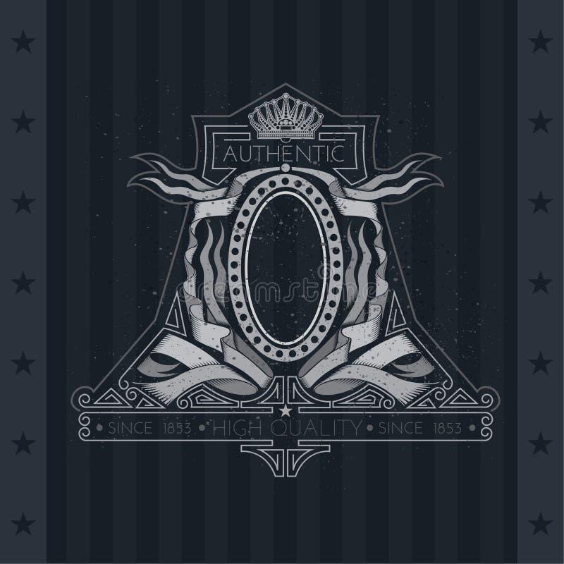 Wapenschild met Kroon en Ovaal Kader tussen Linten of Vlaggen Uitstekend etiket stock illustratie