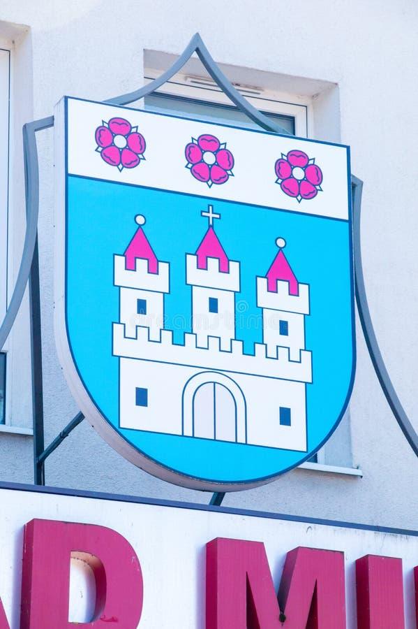 Wapenschild van Nowy Dwor Gdanski royalty-vrije stock afbeelding