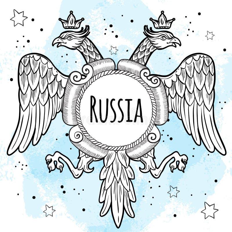 Wapenschilden van het Russische Imperium Bekroonde dubbel-geleide adelaars Hand-drawn vector geïsoleerde illustratie Russisch nat stock illustratie