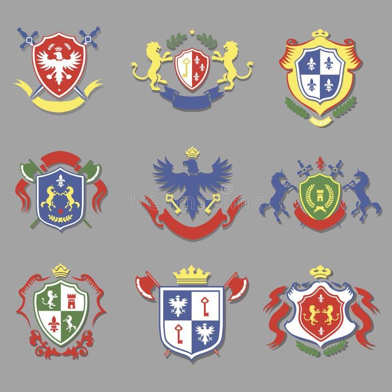 Wapenschildinzameling, het ontwerpreeks van wapenkundeschilden royalty-vrije illustratie