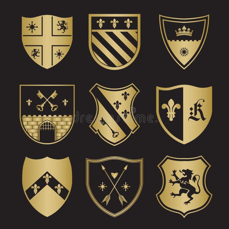 Wapenschildsilhouetten royalty-vrije illustratie