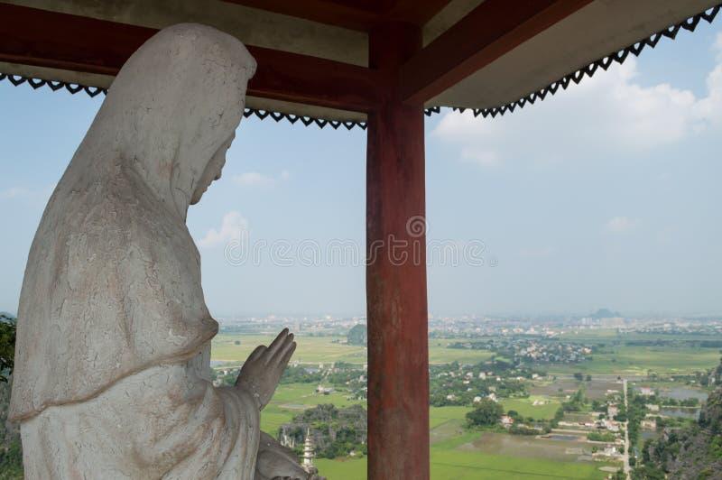 Wapnia krajobraz z Ryżowymi irlandczykami i widokiem, wioski, Wietnam obrazy royalty free