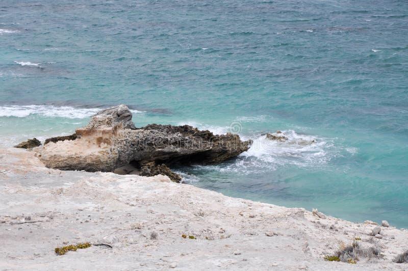 Wapnia odsłanianie: Cuchnąca zatoki plaża obraz stock