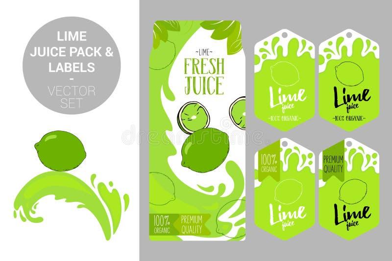 wapno soku juczna i organicznie owoc przylepia etykietkę etykietki Kolorowi tropikalni majchery : royalty ilustracja