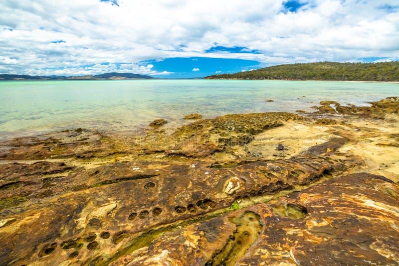 Wapno zatoki plaża Tasmania obraz stock