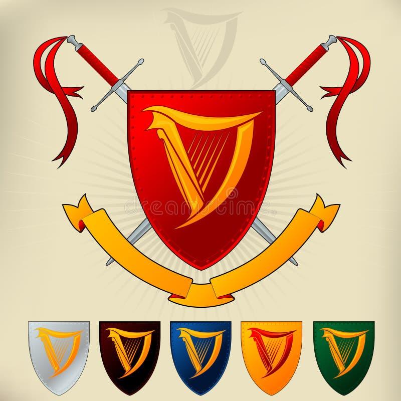 Wappen 102 - Harfe lizenzfreie abbildung
