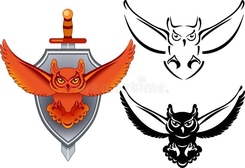 Wappen mit Eule lizenzfreie abbildung