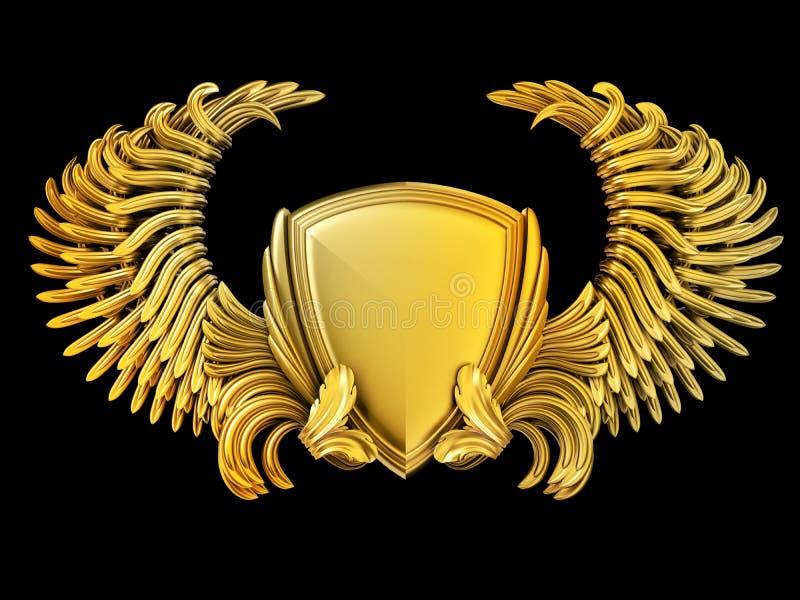 Wappen mit Flügeln und Schild lizenzfreie abbildung