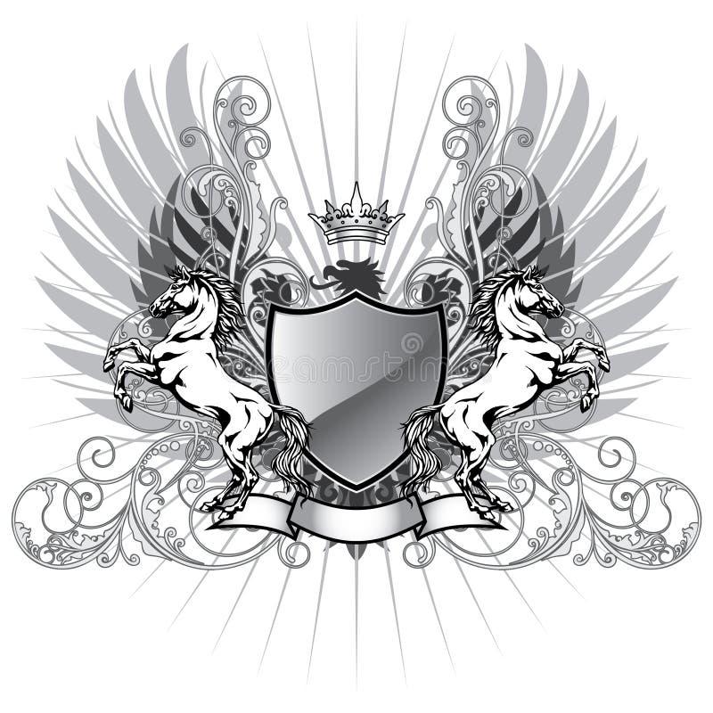 Wappen mit Pferd stock abbildung