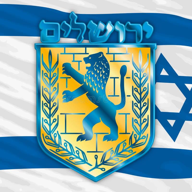 Wappen von Jerusalem-Stadt, Wappen, Vektorgrafikdesign, Illustration stock abbildung