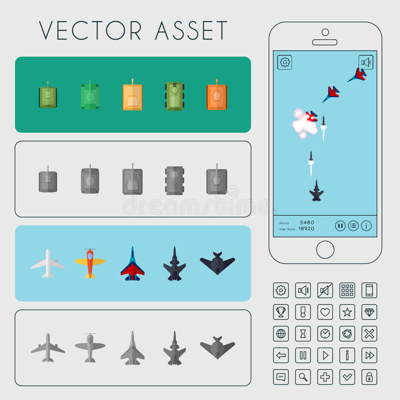 War Arcade Game. Vector Asset. Vector asset for arcade game interface. Combat aircrafts and tanks stock illustration