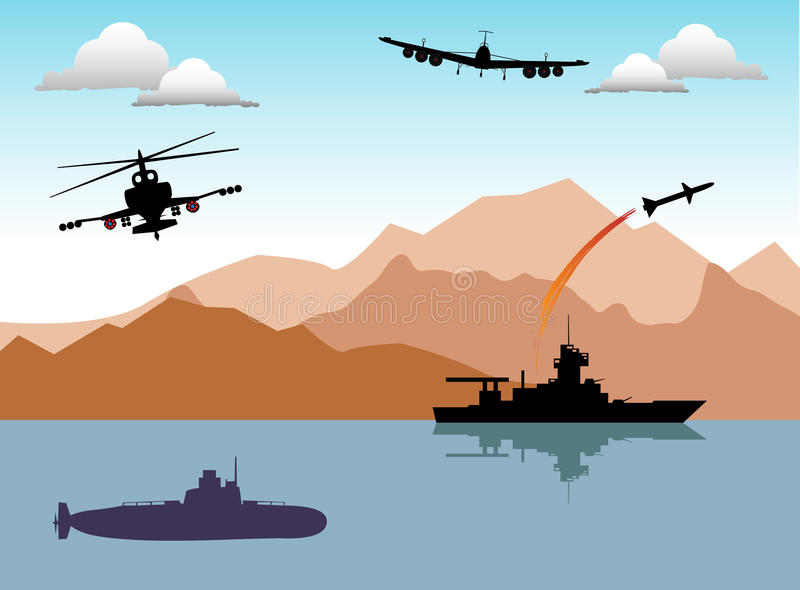 War area. Abstract colorful illustration with war ship launching a rocket, submarine, helicopter and war plane. Conflict area theme royalty free illustration