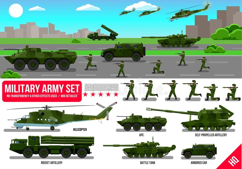 War Army military vehicles set with tank, rocket artillery, helicopter, troopers soldiers, armored car, armored carrier, in desert royalty free illustration
