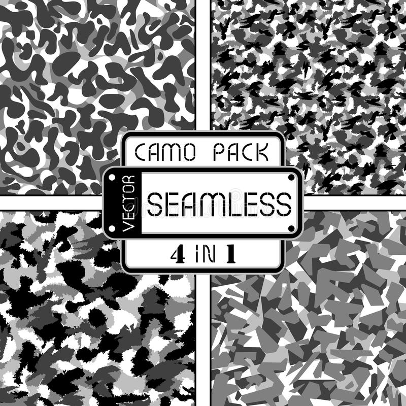 War black and white urban camouflage pack 4 in 1 seamless vector pattern stock illustration