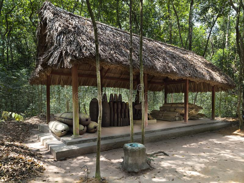 War bombs, Famous Cu Chi tunnels. Vietnam. Cu Chi tunnel, historic famous place in Vietnam war, army dig underground dug out to living, now it`s heritage stock image