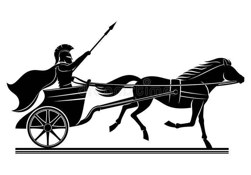 War chariot sign. War chariot sign on a white background stock illustration