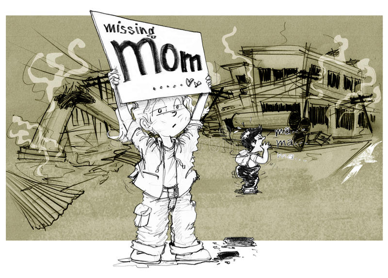 After war children show word missing mom. Cartoon character design survivors children showing sign having words Missing mom, Sister and brother shouting to find royalty free illustration