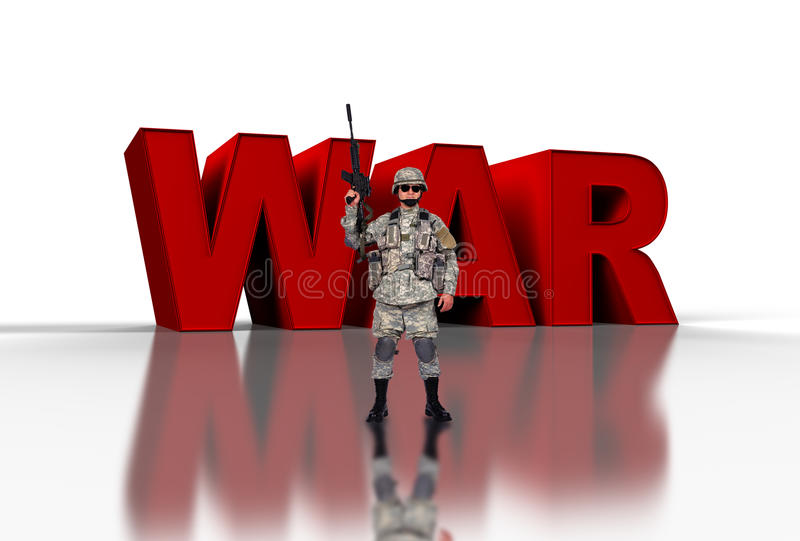 War concep. Us soldier with assault rifle and 3d text war stock photos