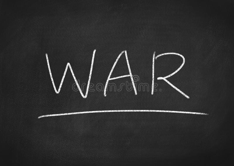 War. Concept word on blackboard background royalty free stock photography