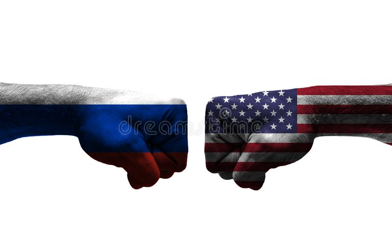 The War between 2 Countries. The unfair War between Russia and USA countries / closed fist stock image