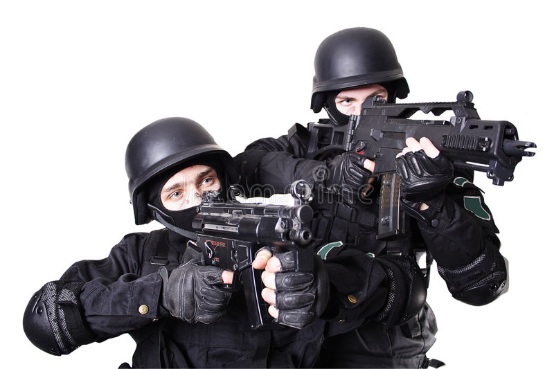 War couple. Shot of a soldier holding gun. Uniform conforms to special services(soldiers) of the NATO countries. Shot in studio. Isolated with clipping path royalty free stock images