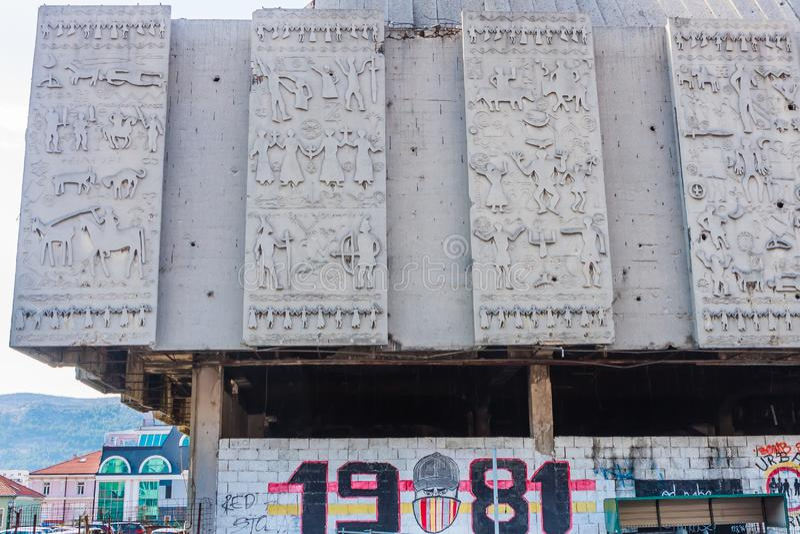 War damaged and abandoned building along Mostarski Bataljon street central Mostar city. Bosnia and Herzegovina. View of War damaged the shopping centre on the stock images